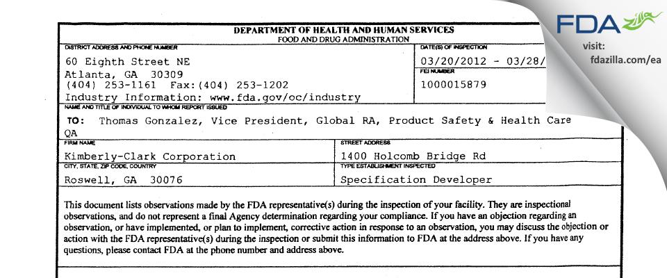 Kimberly-Clark FDA inspection 483 Mar 2012