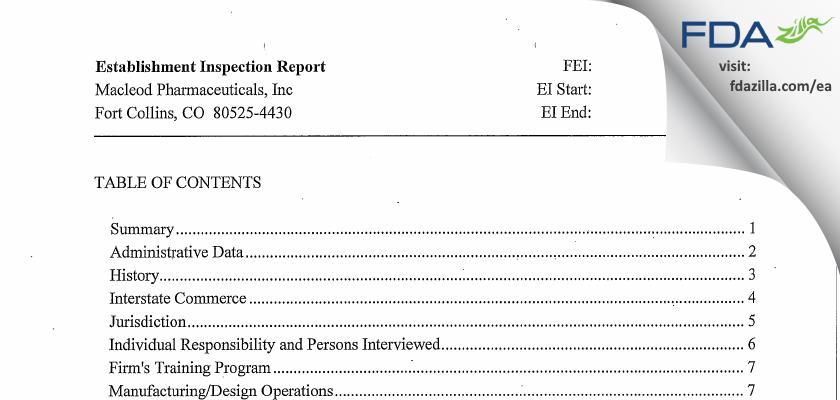 Macleod Pharmaceuticals FDA inspection 483 Dec 2012