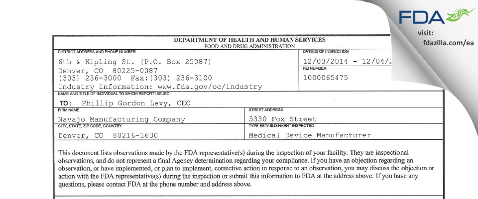 Navajo Manufacturing Company FDA inspection 483 Dec 2014