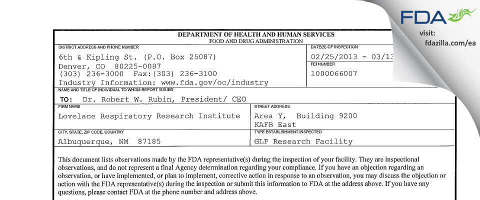 Lovelace Biomedical Research Institute FDA inspection 483 Mar 2013