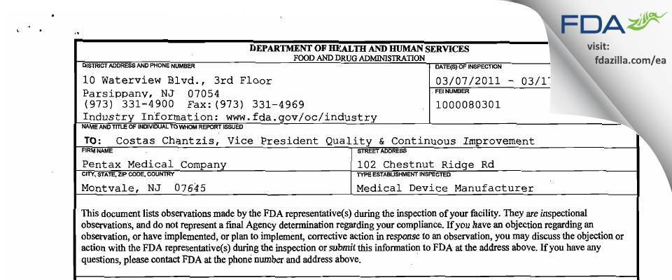 Pentax of America FDA inspection 483 Mar 2011