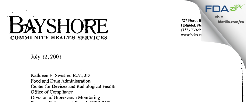 Bayshore Comm Hosp FDA inspection 483 Apr 2001