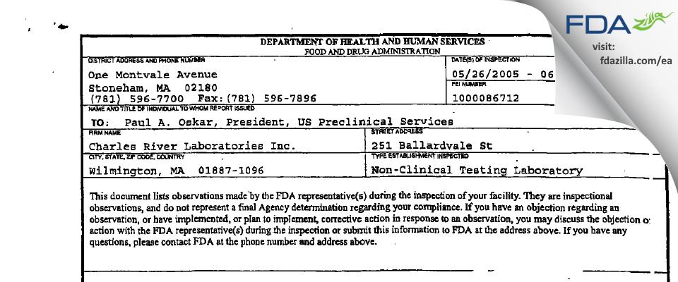 Charles River Labs FDA inspection 483 Jun 2005