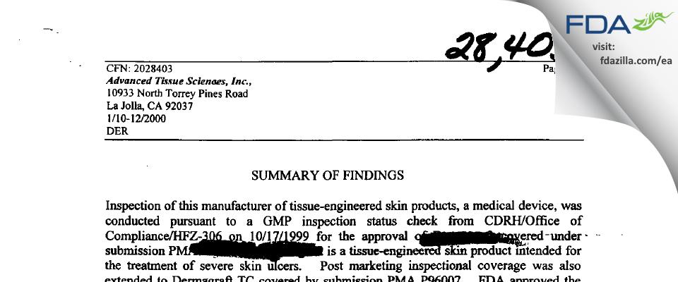 Organogenesis FDA inspection 483 Jan 2000