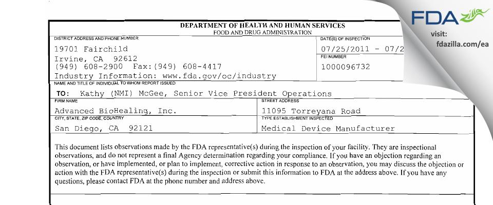 Organogenesis FDA inspection 483 Jul 2011