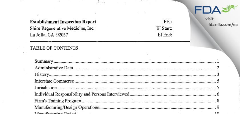 Organogenesis FDA inspection 483 Jun 2013