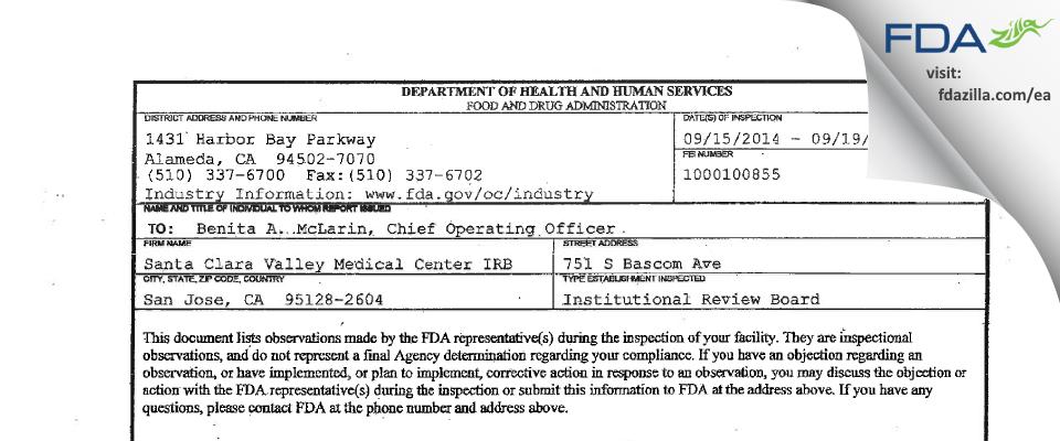 Santa Clara Valley Medical Center IRB FDA inspection 483 Sep 2014
