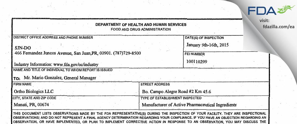 Ortho Biologics FDA inspection 483 Jan 2015