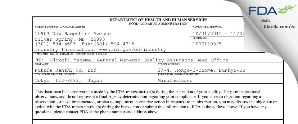 Fukuda Denshi Co FDA inspection 483 Nov 2011