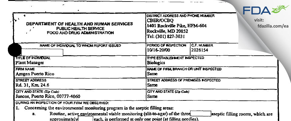 Amgen Manufacturing FDA inspection 483 Oct 2000