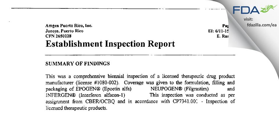 Amgen Manufacturing FDA inspection 483 Jun 2001