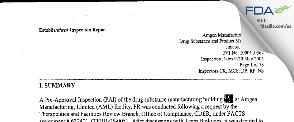 Amgen Manufacturing FDA inspection 483 May 2005