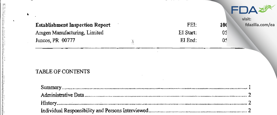 Amgen Manufacturing FDA inspection 483 May 2010