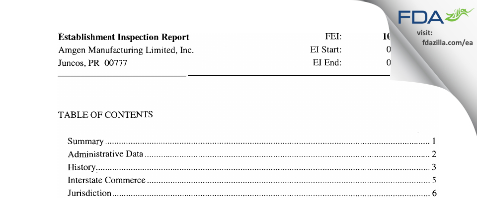 Amgen Manufacturing FDA inspection 483 Apr 2011