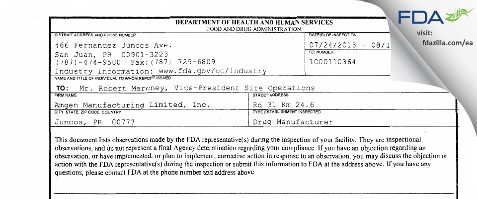 Amgen Manufacturing FDA inspection 483 Aug 2013