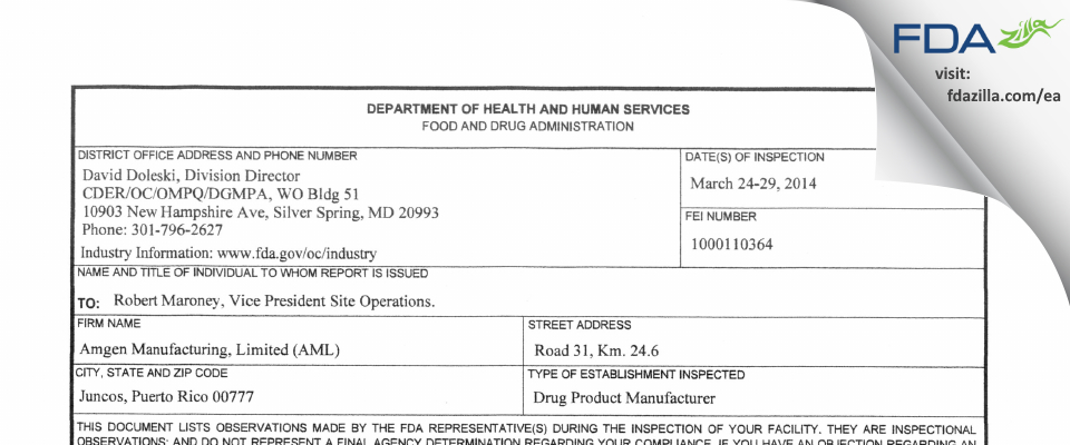 Amgen Manufacturing FDA inspection 483 Mar 2014
