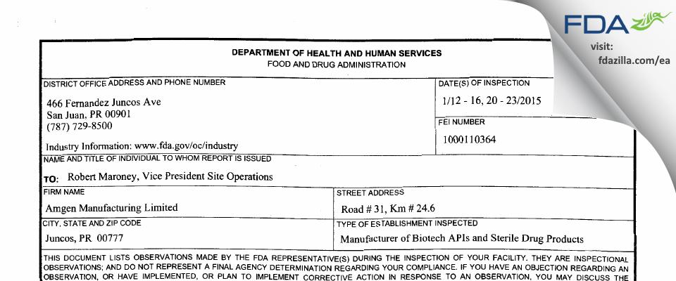 Amgen Manufacturing FDA inspection 483 Jan 2015