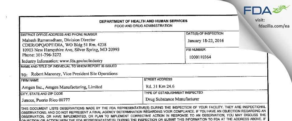 Amgen Manufacturing FDA inspection 483 Jan 2016