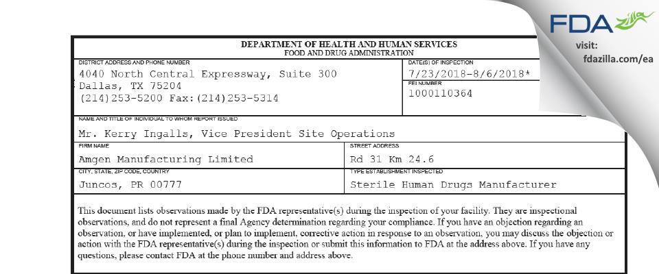 Amgen Manufacturing FDA inspection 483 Aug 2018