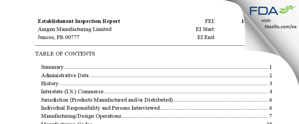 Amgen Manufacturing FDA inspection 483 Apr 2019