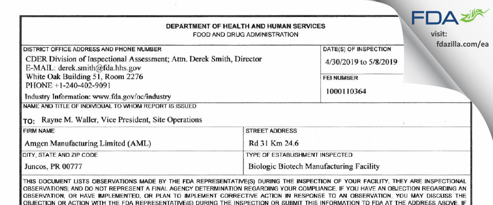 Amgen Manufacturing FDA inspection 483 May 2019