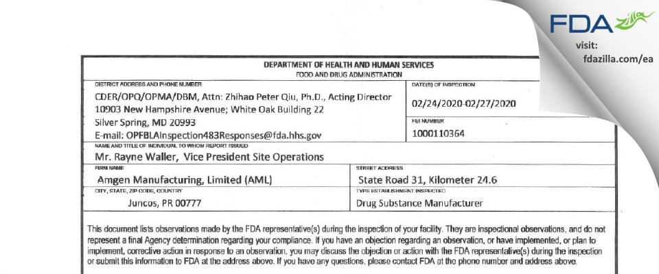 Amgen Manufacturing FDA inspection 483 Feb 2020