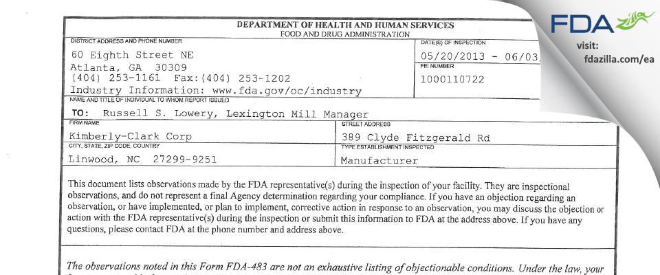 Halyard North Carolina FDA inspection 483 Jun 2013