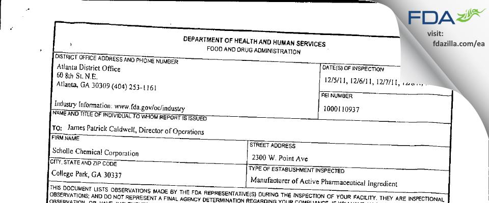Alchemix FDA inspection 483 Dec 2011