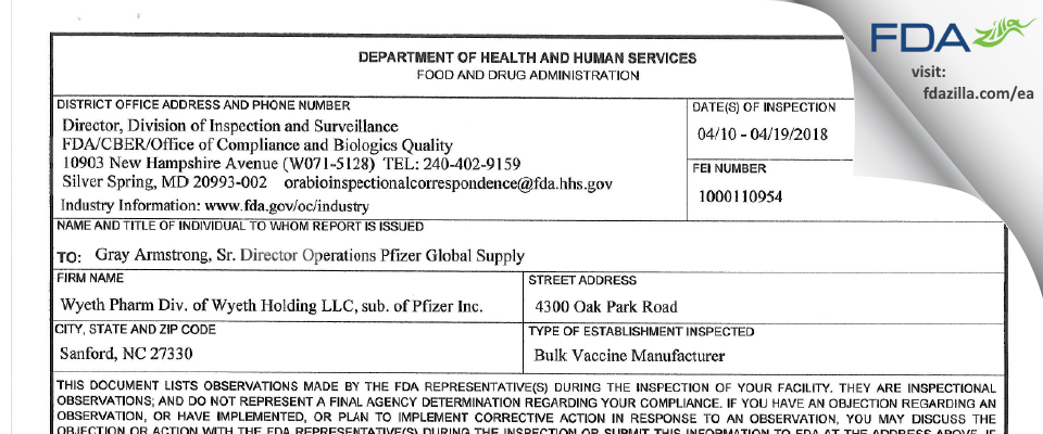 Wyeth Pharmaceutical Division of Wyeth Holdings FDA inspection 483 Apr 2018