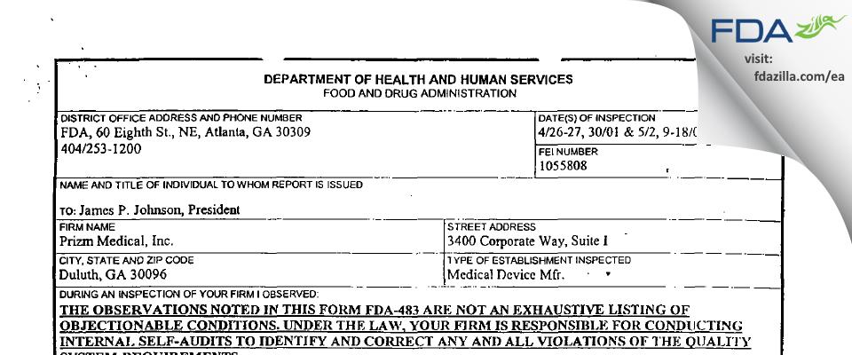 Prizm Medical FDA inspection 483 May 2001