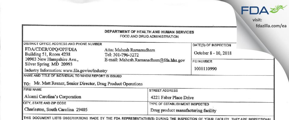 Alcami Carolinas FDA inspection 483 Oct 2018