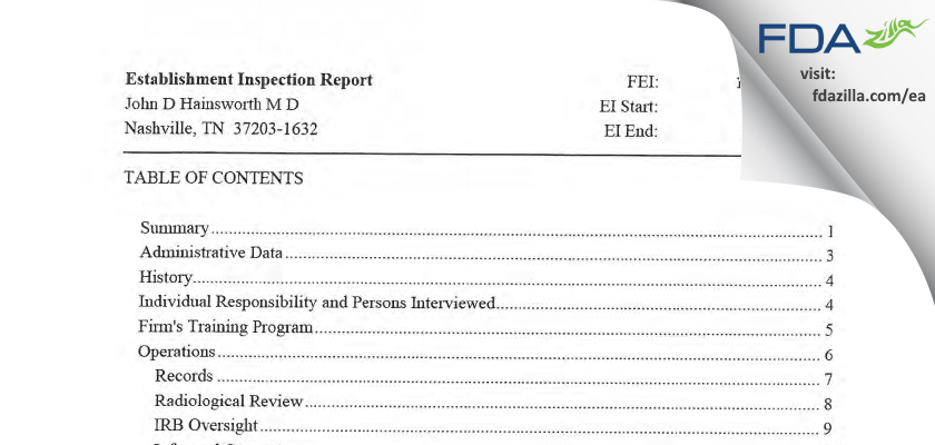 John D Hainsworth M D FDA inspection 483 Mar 2011
