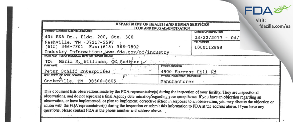 Peter Schiff Enterprises FDA inspection 483 Apr 2013