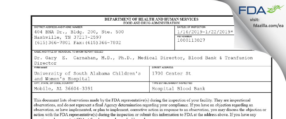 University of South Alabama Children's and Women's Hospital FDA inspection 483 Jan 2019