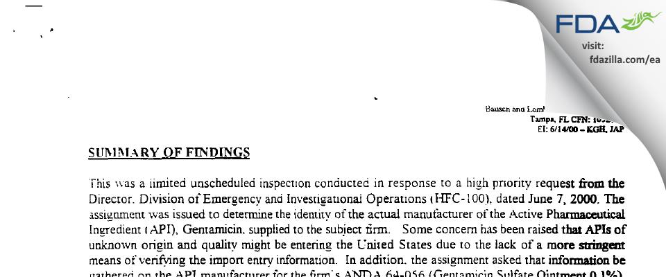 Bausch & Lomb FDA inspection 483 Jun 2000