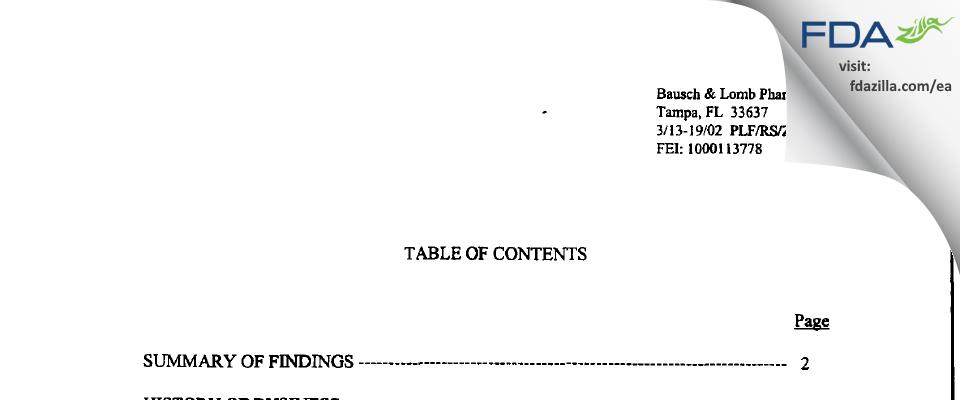 Bausch & Lomb FDA inspection 483 Mar 2002
