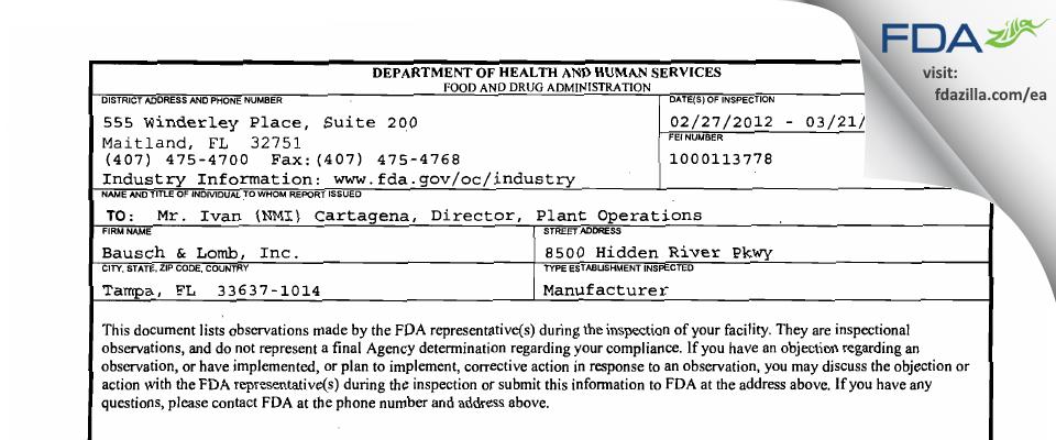 Bausch & Lomb FDA inspection 483 Mar 2012