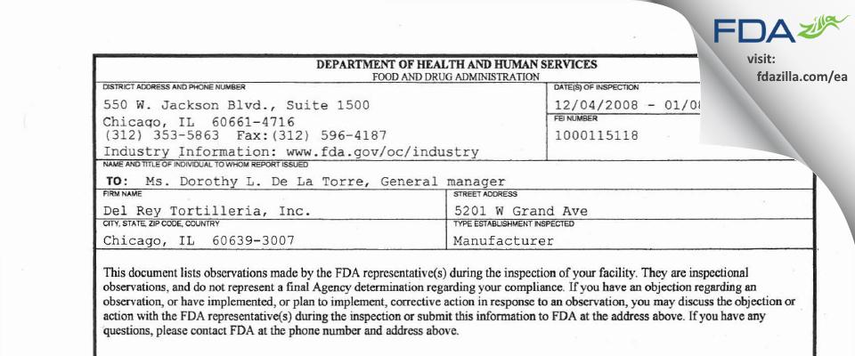 Del Rey Tortilleria FDA inspection 483 Jan 2009