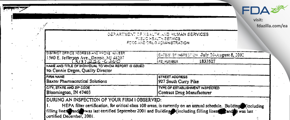 Baxter Pharmaceutical Solutions FDA inspection 483 Aug 2002