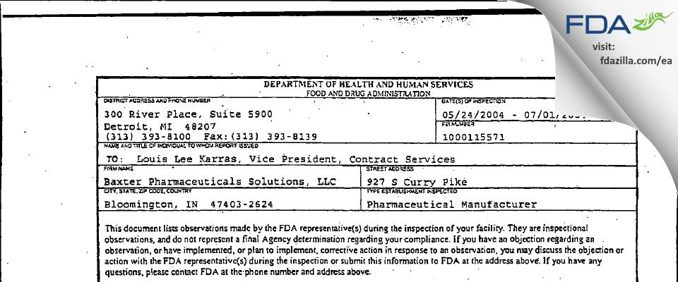 Baxter Pharmaceutical Solutions FDA inspection 483 Jul 2004