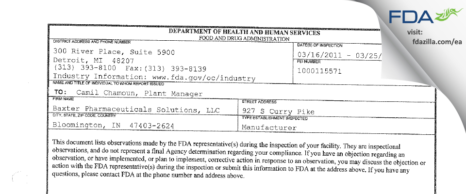 Baxter Pharmaceutical Solutions FDA inspection 483 Mar 2011