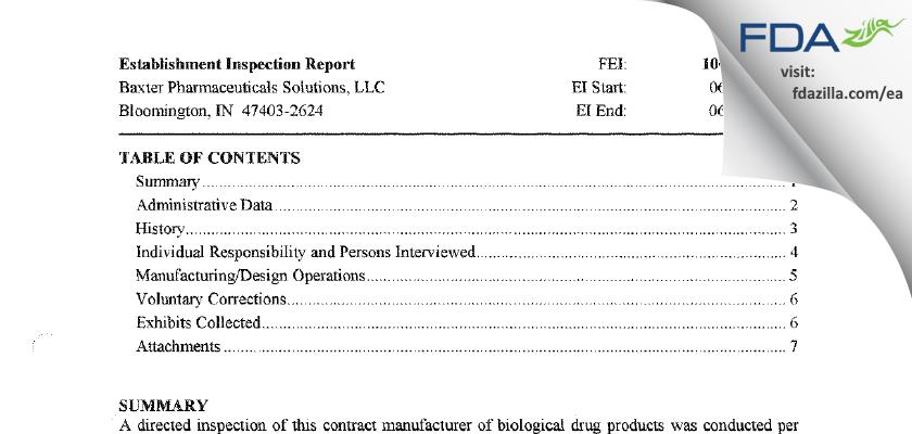 Baxter Pharmaceutical Solutions FDA inspection 483 Jun 2011