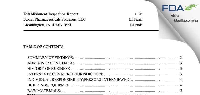 Baxter Pharmaceutical Solutions FDA inspection 483 Dec 2011