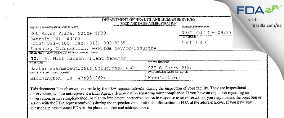 Baxter Pharmaceutical Solutions FDA inspection 483 Sep 2012