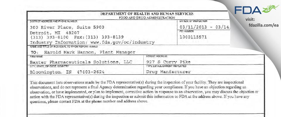 Baxter Pharmaceutical Solutions FDA inspection 483 Mar 2013