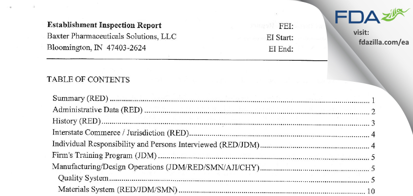 Baxter Pharmaceutical Solutions FDA inspection 483 May 2013