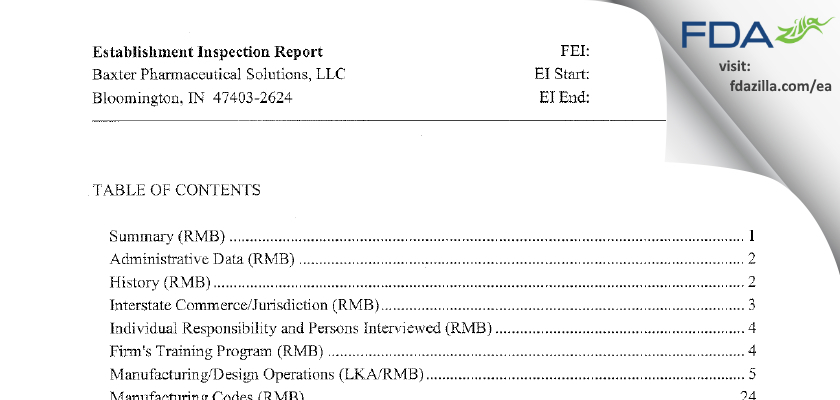 Baxter Pharmaceutical Solutions FDA inspection 483 May 2014