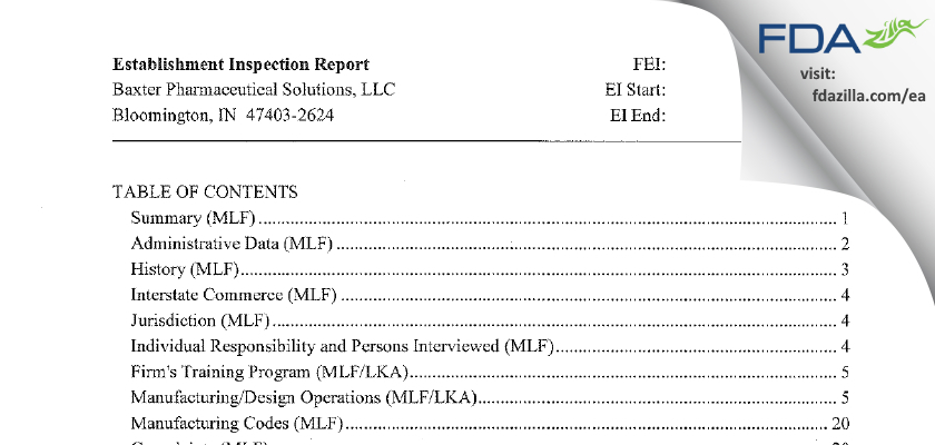 Baxter Pharmaceutical Solutions FDA inspection 483 Oct 2014