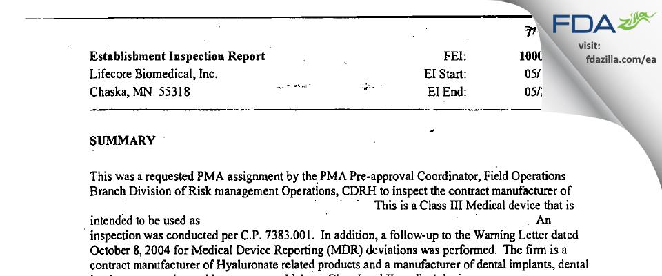 Lifecore Biomedical FDA inspection 483 May 2005