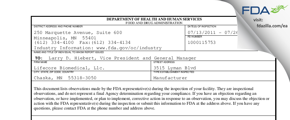 Lifecore Biomedical. FDA inspection 483 Jul 2011